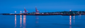 shipping dock at blue hour
