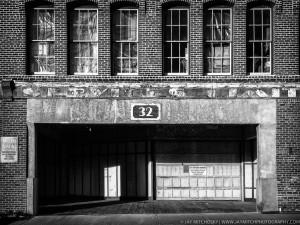 Brick warehouse in shadow