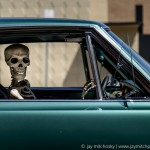 skeleton in car