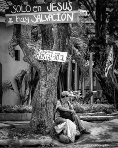 man sitting by tree with hostal and religious signs