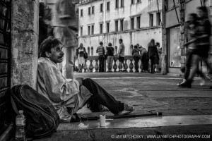 Beggar on Rialto Bridge