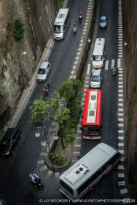 Via Marina Piccola traffic jam, Sorrento, Italy