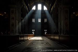 St. Peter's Basilica light beams