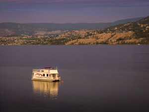 Boat on Okanagan Lake in Kelowna, BC.